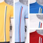 Get Up Turtle Neck All Cotton Pique Racing Stripe Short Sleeve Retro Sports T-sh