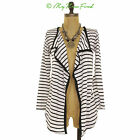 NWOT STRIPED BLACK AND WHITE THIN COTTON KNIT OPEN JACKET CARDIGAN TOP S SMALL