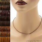 1.5 mm Brown Leather Cord Necklace or Choker Custom Length colors Handmade USA