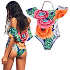 Women's One Piece Bikini Push up Padded Bra Floral Swimsuit Bathing Swimwear