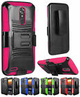For ZTE MAX XL N9560 Rugged Hybrid Armor Side Kickstand Holster Cover Case