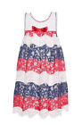 Bonnie Jean Big Girls Americana 4th of July Red White Blue Lace Dress 7 - 16 new