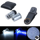Universal 60x Mini Clip Cell Phone Magnifier Jeweler Microscope Loupe LED Light