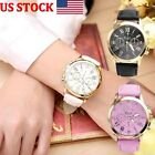 US Womens Ladies Geneva Roman Numerals Casual Stainless Steel Faux Leather Watch