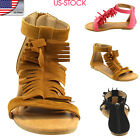 USA Womens Back Zipper Fringe T-strap Flat Shoes Gladiator Ankle Sandals Shoes