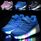 Kid Retractable Wheel Roller Skate Wheely Shoes Boys Girls LED Light Up Sneakers
