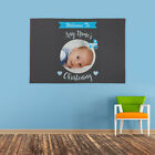 PERSONALISED WELCOME TO NAME CHRISTENING CELEBRATION PHOTO BANNER BLUE BOY