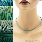 3 mm Teal Leather Cord Necklace or Choker Custom Length pick colors Handmade USA
