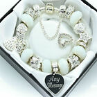 Womens Jewellery ENGRAVED Bracelet White Silver Beads Ladies Personalised Gifts