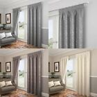 CARLTON LEAF DESIGN FULLY LINED TAPE TOP CURTAINS READY MADE PENCIL PLEAT PAIRS
