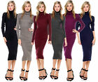 WOMEN Turtleneck LONG KNIT WARM WINTER KNIT SLIM PLUS SIZE TUNIC SWEATER DRESS