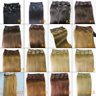 "New 12""-36"" 100% REAL Remy Clip in human Hair Extensions FULL HEAD SET 70-140g"