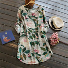 Fashion Women Loose Long Sleeve Casual T Shirt Ladies Floral Blouse Mini Dress