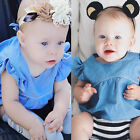 Adorable Kids Baby Girls Cowboy Tops Dress+Striped Pants Clothes Outfits 0-24M