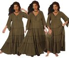 W319 DRESS MAXI RUFFLING 3/4 BELL SLEEVE MADE TO ORDER LotusTraders S M OS 3X 5X