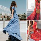 Women Polka Dot Long Sleeve Boho Dress Ladies Evening Party Long Maxi Dresses