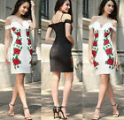 New Women Off Shoulder Embroidery Spaghetti Dresses Cocktail Evening Party Dress