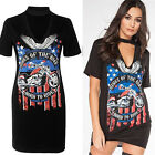 Womens Sexy Choker V neck T-shirt Dress Over Sized Casual Print Eagle Loose