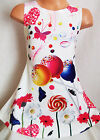 GIRLS 60s STYLE MULTI COLOUR LOLLIPOP SWEET PRINT SPECIAL OCCASION PARTY DRESS