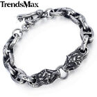 11mm Mens Chain Bracelet Silver 316L Stainless Steel Wolf Head Mariner Oval Link
