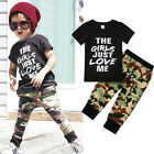 2PCS Casual Toddler Baby Boy Camouflage Top T-shirt+Pants Kids Cotton Outfits