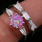 Combination Circle Pink Fire Opal Topaz Gems Silver Rings US# Size 6 7 8 9 T1110