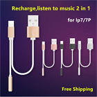 For iPhone 7/7P 2 In 1 Lightning to 3.5mm Audio Jack Charger Adapter Splitter UK