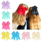 8 Inch Cheer Bow Hair bands Solid Color Girls Cheerleading Gifts Elastic Band