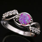 Charming Pink Circle Fire Opal Little Topaz Gems Silver Rings Size 6 7 8 9 T1071