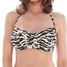 Fantasie Swimwear Milos Twist Bandeau Scarf Tie Bikini Top Black/Cream 6136 NEW