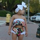 Toddler Infant Baby Girl Floral Top Sunsuit Lace Shorts Pants Outfit+Bowknot Set