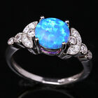 Direct selling Blue Fire Opal  Dragonfly Topaz Silver Ring Size 6 7 8 9 T1224