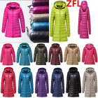 Plus Women Ultralight Long 90% Down Slim Thin Hooded Jacket Puffer Parka Coat