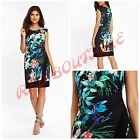 NEW WALLIS DRESS SHIFT BODYCON BLACK BLUE FLORAL TROPICAL SUMMER SIZE 8 - 18
