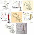 WEDDING ANNIVERSARY Party Invitations & Envelopes - Silver/Gold Foil + Invites