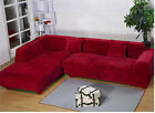 Thick Pure Red Color L-Shaped Sofa Couch Furniture Slip Cover For 1 2 3 4 Seater