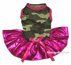 Valentine Plain Camouflage Camo Top Bling Hot Pink Tutu Pet Dog Puppy Cat Dress