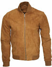 Mens Retro Tan Goat Suede Leather Bomber Varsity Jacket