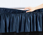 "Navy Blue Solid Elastic Ruffled Wrap Around Bed Skirt Easy Fit 16"" Length (Drop) image"