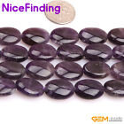 Natural Oval Purple Amethyst Quartz Gemstone Beads For Jewelry Making Strand 15""