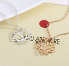 2Pcs Women Sliver Glod Hollow Lotus Flower Pendant Long Chain Necklace Alloy