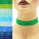 Stretch Lace Choker 1 - 1.25 inch wide custom necklace 25 - 30 mm elastic Blue+