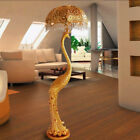 Pedal Control LED Floor Lamp Gold Peacock Desk Light Crystal Retro Floor Light