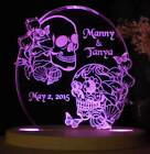 Personalized Skeleton Wedding Cake Topper Tattoo Style Sculls Cake Top Opt Light