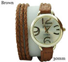 Geneva Platinum Braided Band Ladies Wrap Around Leather Strap Fashion Watch 30mm