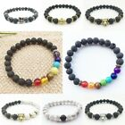 Fashion Men's Spot Natural Lava Stone Buddha Beaded Charm Bracelet Jewelry Gift