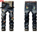 Men Skinny HoleClassic Ripped Jeans Straight Leg Slim Casual Denim Pants Trouser