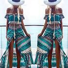 Two Piece Set Summer Women Off Shoulder Crop Tops Long Skirt Boho Maxi Dress