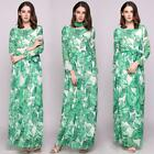 Long Sleeve O Collar Maxi Boho Style Print Belted Casual Dress EN24H