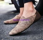 Hot Slip On Mens Flats Casual Leather Loafers Korean Summer Shoes Fashion New